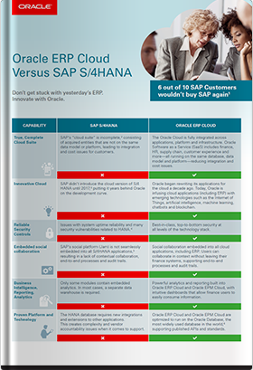 Oracle ERP Cloud とSAP S/4HANAとの比較